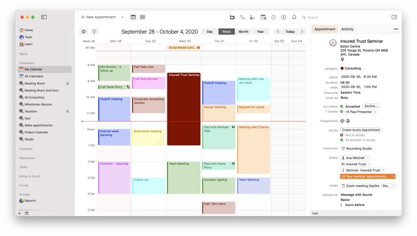 Daylite Calendar interface