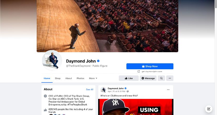 Daymond John Facebook page