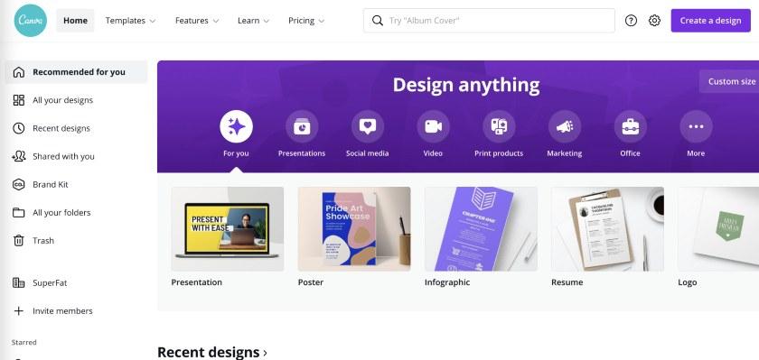 Desktop view of Canva's website