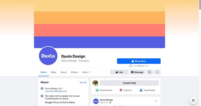 Duvin Design Facebook page