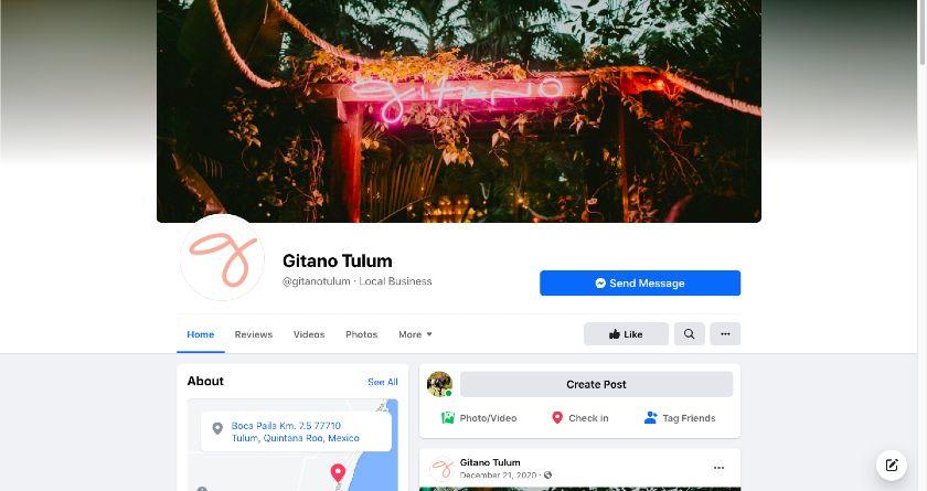 Gitano Tulum Facebook page