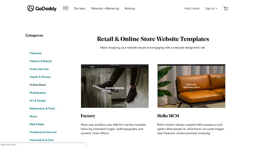 GoDaddy Retail and Online Store Website Templates