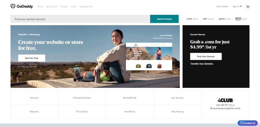 GoDaddy's homepage