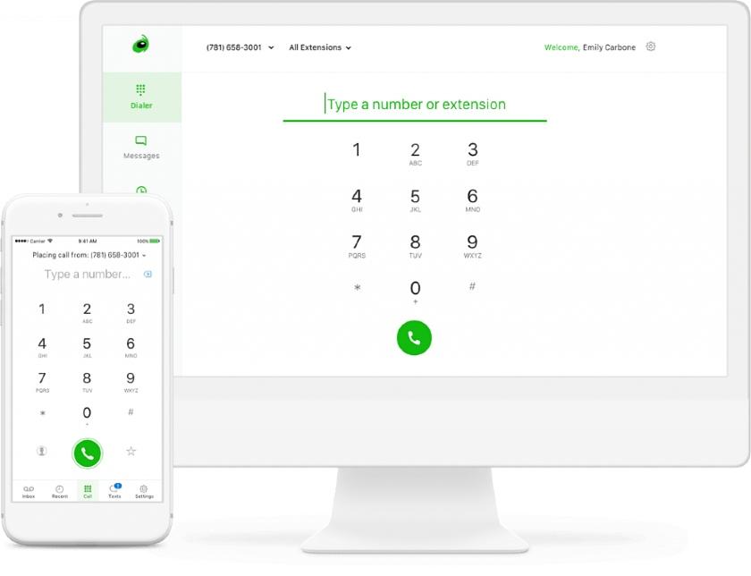 Grasshopper Softphone mobile and desktop interface