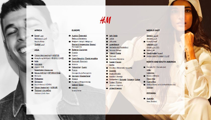 H&M website with a multitude of international