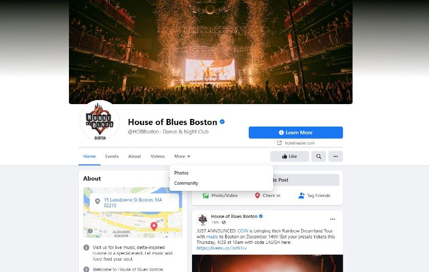 House of Blues Boston Facebook page