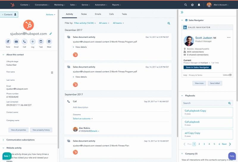 HubSpot and LinkedIn Sales Navigator integration