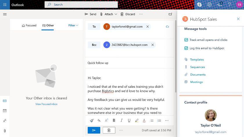 HubSpot Outlook sidebar integration