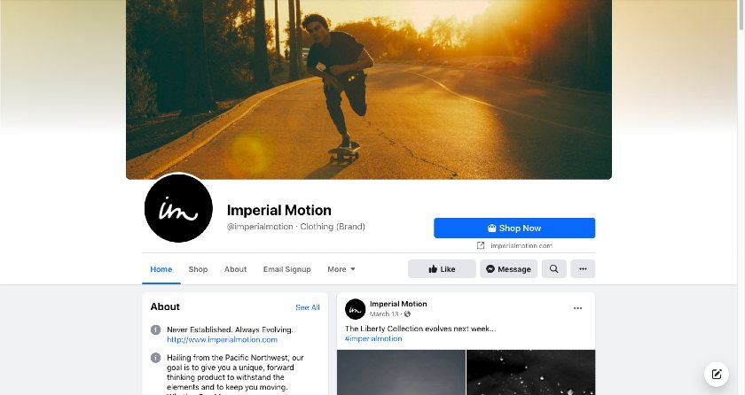 Imperial motion Facebook page