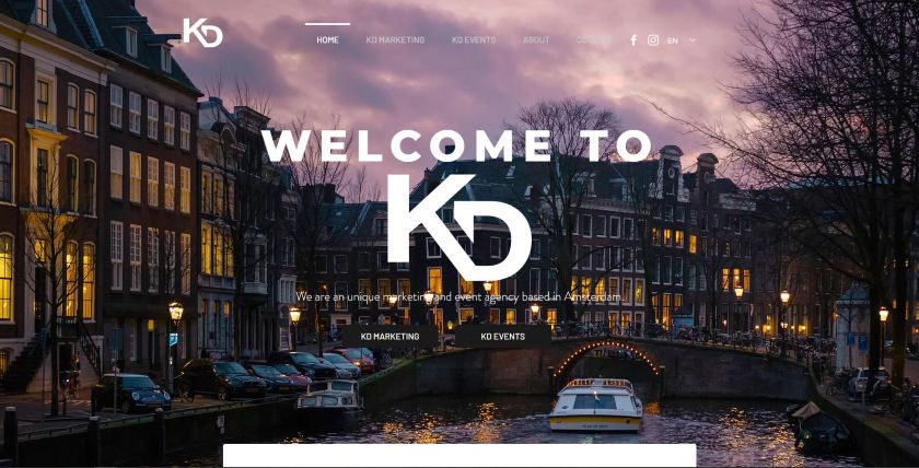 KD website from Wix