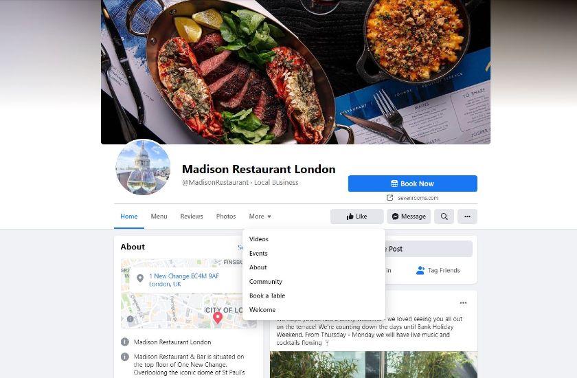 Madison Restaurant London Facebook page