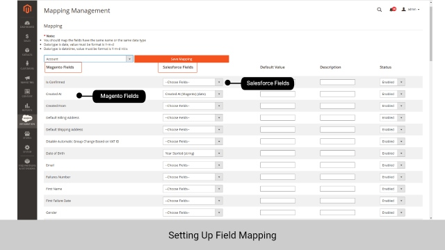 Mapping management for Salesforce and Magento integration