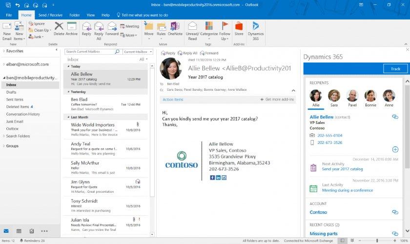 Microsoft Dynamics 365 Outlook integration