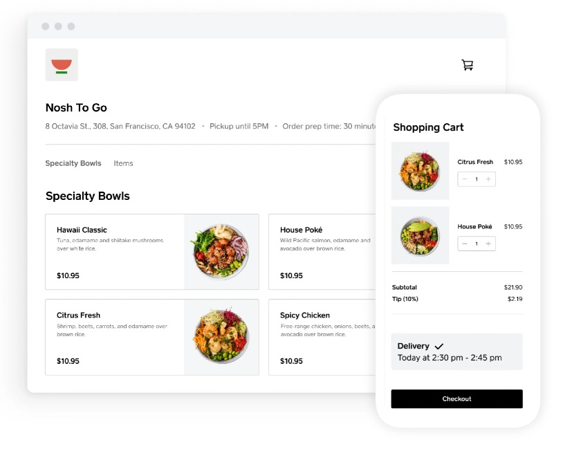 An Online Restaurant that uses Square online payments