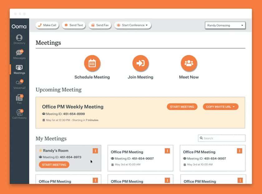 Screenshot of Ooma's meeting dashboard