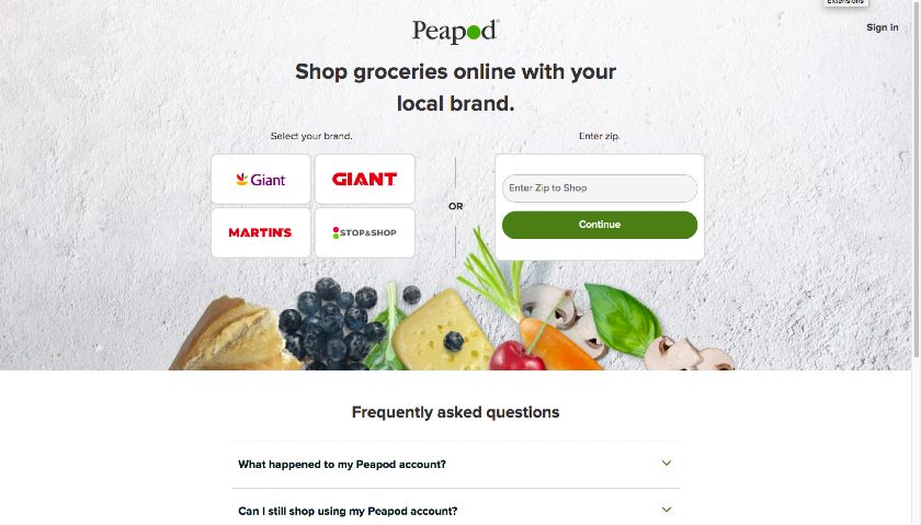 Peapod Grocery Delivery website