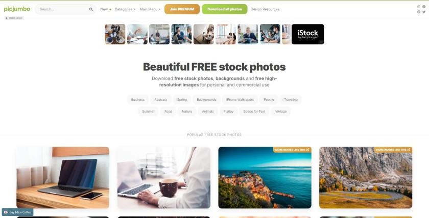 Picjumbo homepage