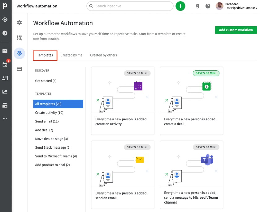 Pipedrive workflow automation templates