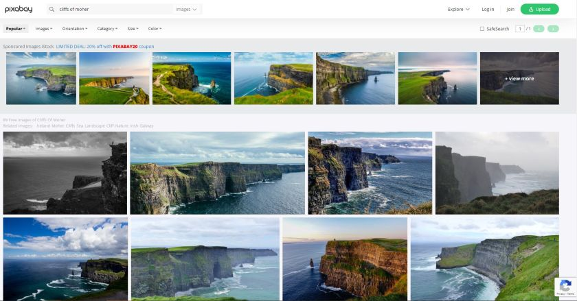 Pixabay search result on cliffs of moher