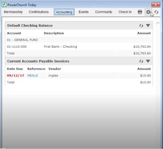 Screenshot of PowerChurch Plus Accounting Window