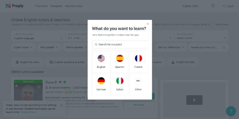 Preply online language learning platform