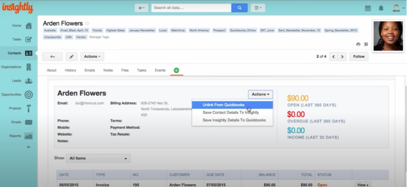 QuickBooks Integration on Insightly Contact tabs