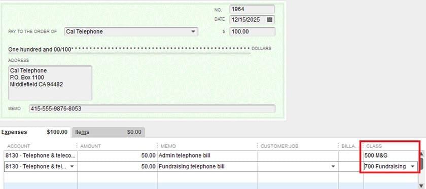 Screenshot of QuickBooks Premier Nonprofit Assign Expenses