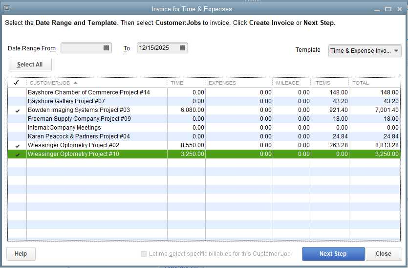 Screenshot of QuickBooks Premier Professional Services Edition Invoice for Time and Expenses