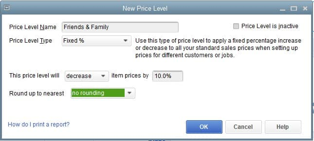 Screenshot of QuickBooks Premier Professional Services Edition Special Price Level