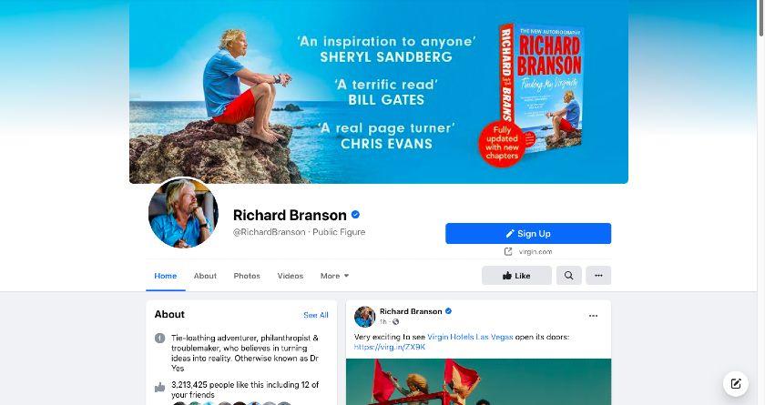 Richard Branson Facebook page