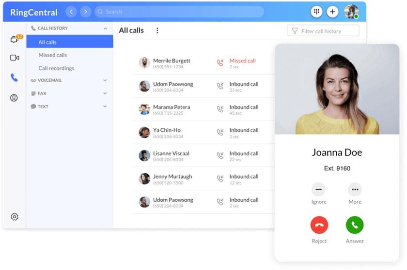 Screenshot of RingCentral desktop user interface sample