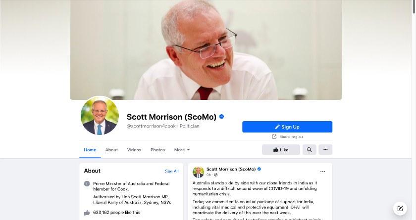 Scott Morrison Facebook page
