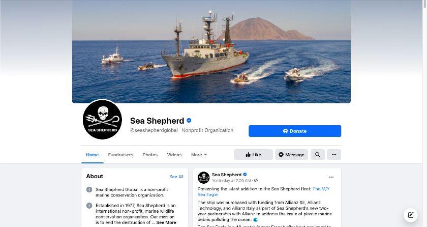 Sea Shepherd Facebook page