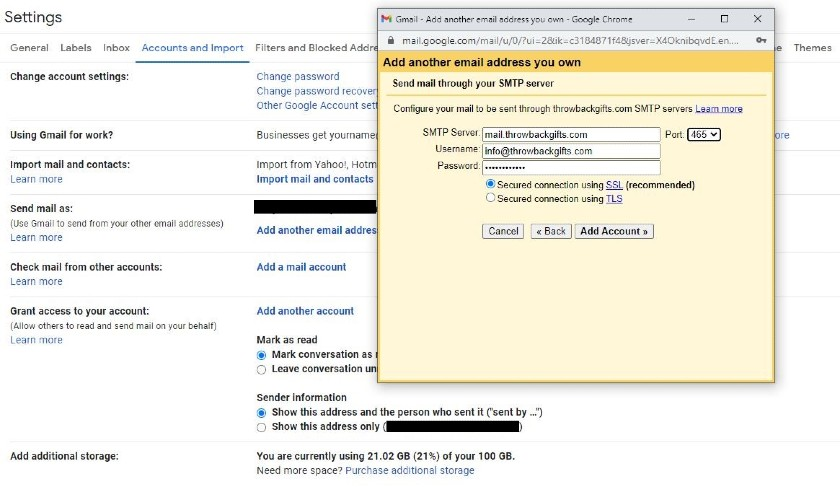 Send mail through your SMTP server
