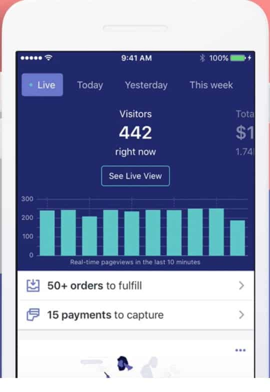 Screenshot of Shopify mobile app dashboard