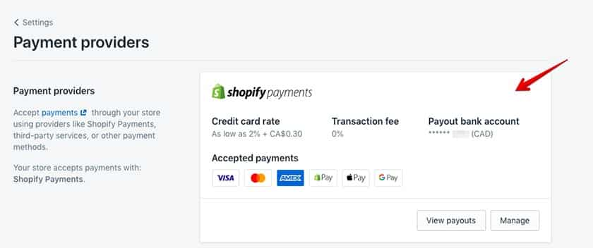 Screenshot of Shopify set up payment providers