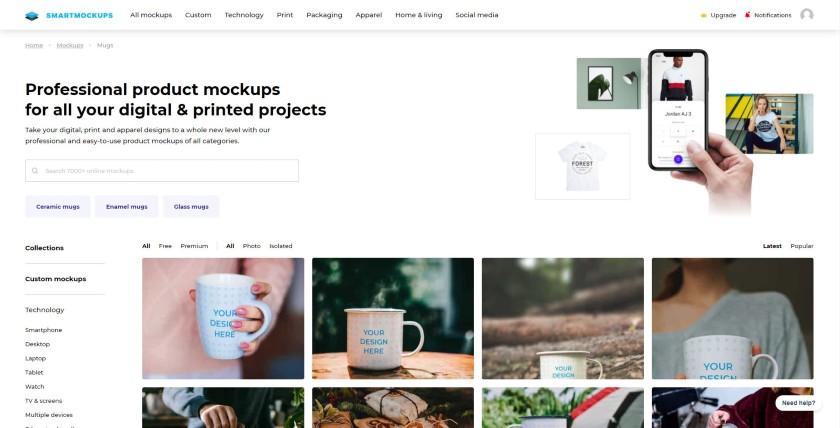 Smartmockups' custom mockups on Mugs