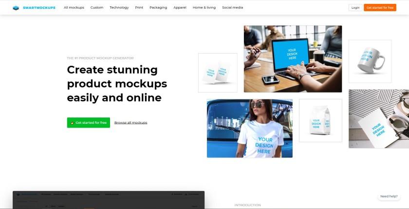 Smartmockups homepage