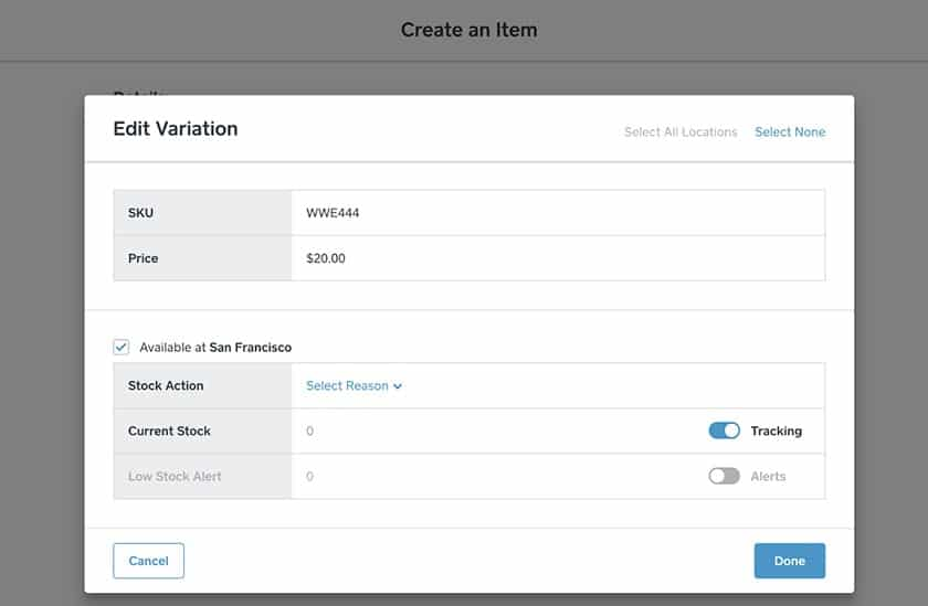 Screenshot of Square Online set up variations of product items