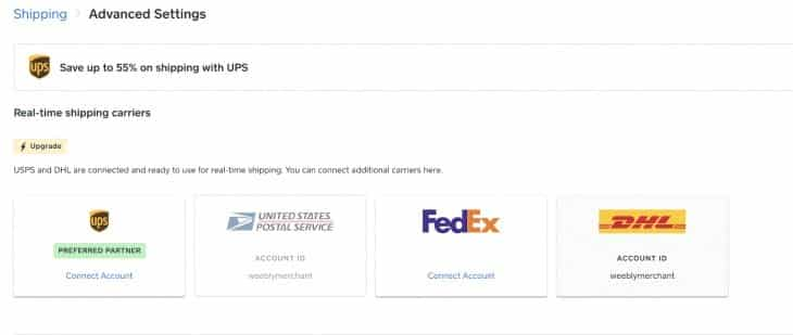 Screenshot of Square Online shipping options