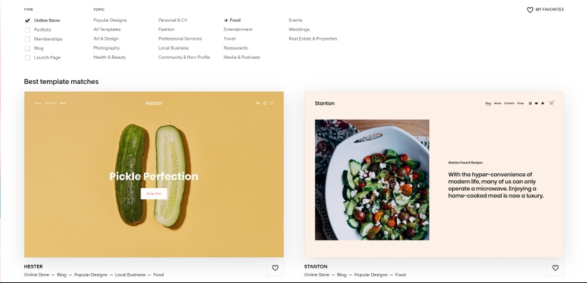 Squarespace Best Template matches