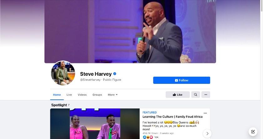 Steve Harvey Facebook page