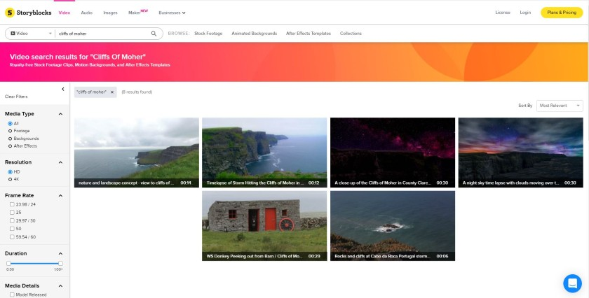 Storyblocks search result on cliffs of moher photos
