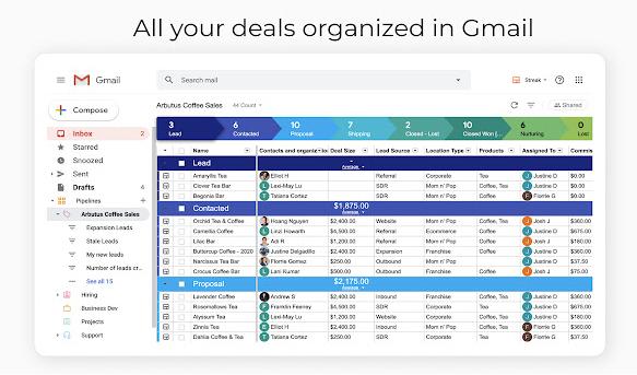 Streak organized Deals in Gmail