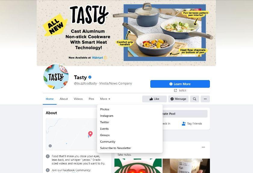 Tasty Facebook page