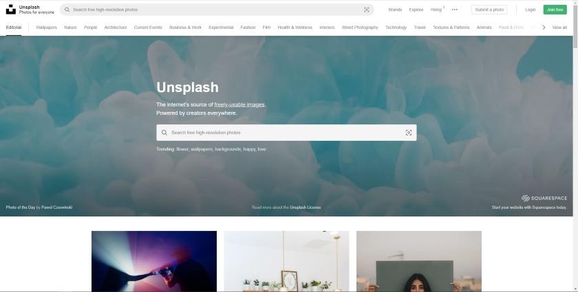 Unsplash homepage