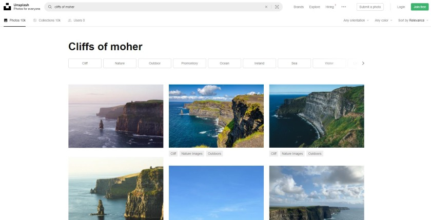 Unsplash search result on cliffs of moher photos