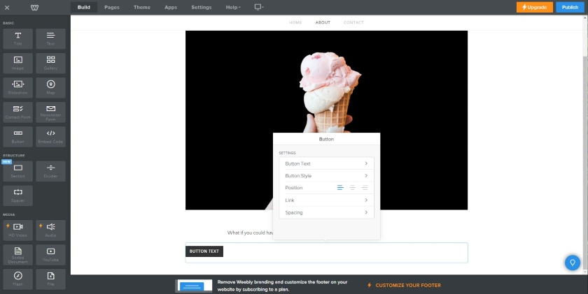 Weebly's page builder interface
