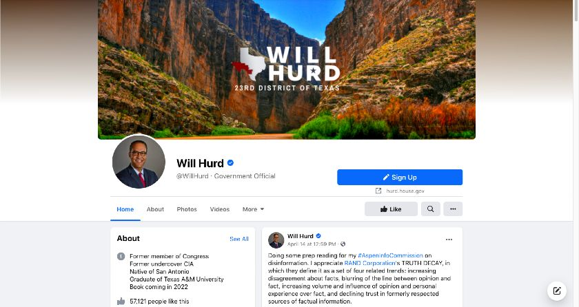 Will Hurd Facebook page