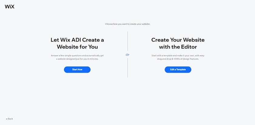 Screenshot of Wix ADI and the Editor selection